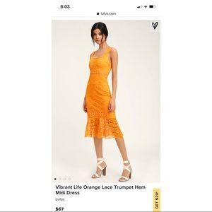 Lulus Vibrant Life Orange Lace Trumpet Midi Dress